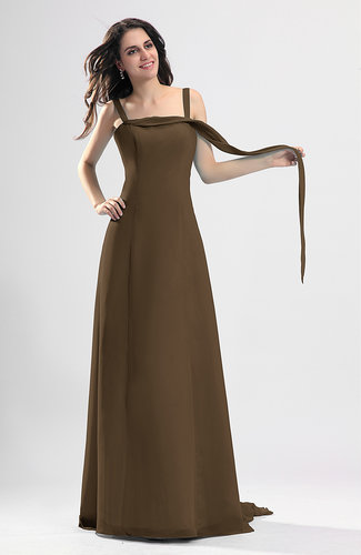 Brown simple column thick straps sleeveless chiffon for Brown dresses for wedding guest