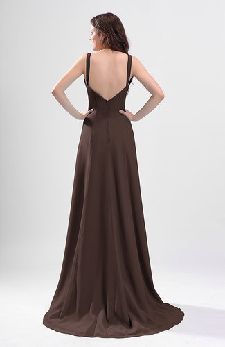 Chocolate brown simple column thick straps sleeveless for Brown dresses for wedding guest