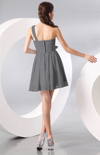 Grey elegant a line one shoulder chiffon short ruching for One shoulder dress for wedding guest