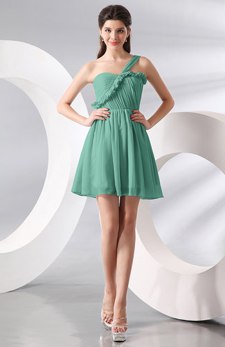 Mint green elegant a line one shoulder chiffon short for Mint wedding guest dress