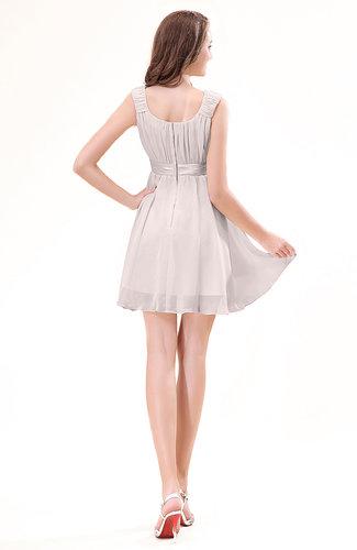 Light pink modest sleeveless zipper chiffon ribbon wedding for Light pink wedding guest dress