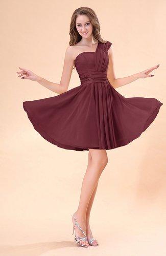 Burgundy cute a line sleeveless mini ruching wedding guest for Maroon wedding guest dress