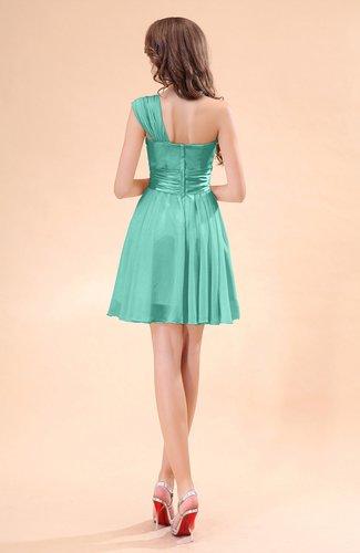 Mint green cute a line sleeveless mini ruching wedding for Mint wedding guest dress