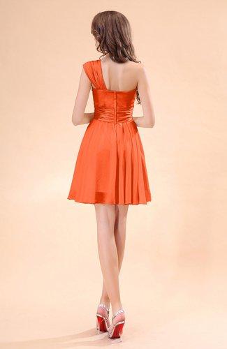 Tangerine cute a line sleeveless mini ruching wedding for Cute wedding guest dresses