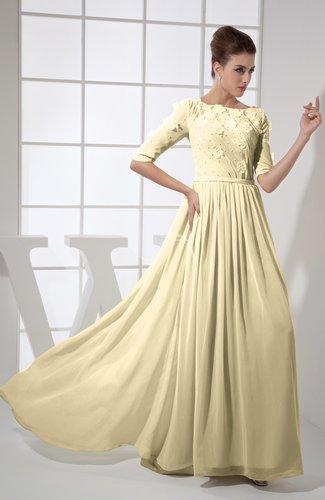 Vintage A-line Elbow Length Sleeve Chiffon Brush Train Beaded Graduation Dresses