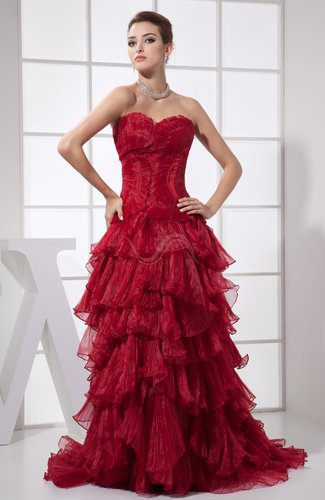Modern Sleeveless Zipper Organza Court Train Pleated Party Dresses
