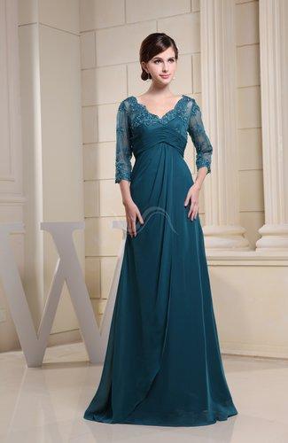 Elegant 3/4 Length Sleeve Zipper Floor Length Ruching Bridesmaid Dresses
