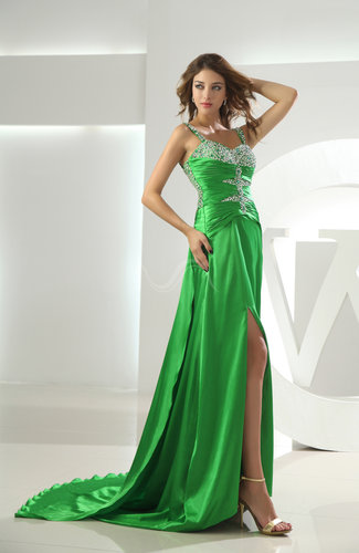 Sexy Thick Straps Elastic Woven Satin Panel Train Split-Front Prom Dresses