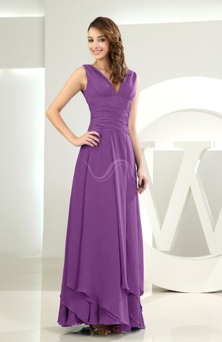 Simple A-line V-neck Sleeveless Chiffon Wedding Guest Dresses
