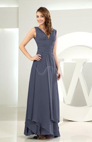 Simple A-line V-neck Sleeveless Chiffon Wedding Guest Dresses