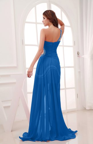 Royal blue romantic asymmetric neckline chiffon hi lo for Hi lo dress wedding guest