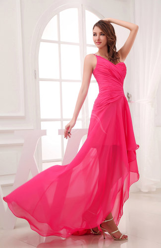 Romantic asymmetric neckline chiffon hi lo ruching wedding for Hi lo dress wedding guest