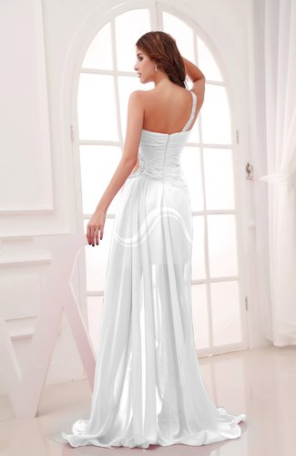 White romantic asymmetric neckline chiffon hi lo ruching for Hi lo dress wedding guest
