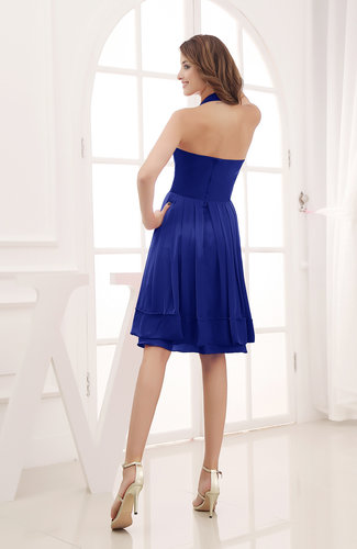 Electric Blue Elegant Halter Sleeveless Chiffon Ruching Club Dresses - UWDress.com