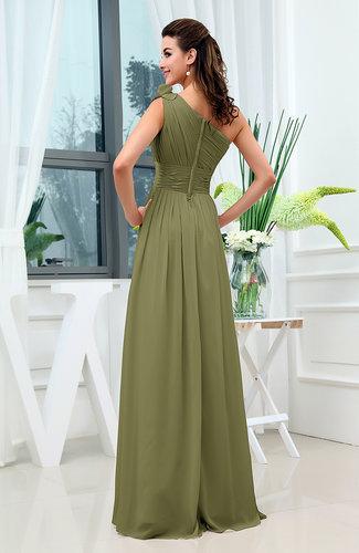 Olive Green Classic A Line One Shoulder Sleeveless Zipper Sash
