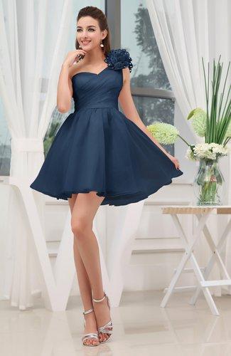 Elegant Asymmetric Neckline Zipper Organza Short Ruching Graduation Dresses