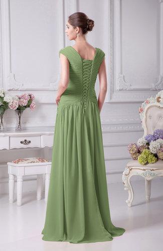 Sage Green Elegant A Line V Neck Short Sleeve Chiffon