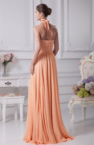 Apricot casual sheath halter sleeveless floor length for Casual sheath wedding dresses