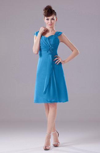 Cornflower Blue Elegant A Line Thick Straps Chiffon Knee