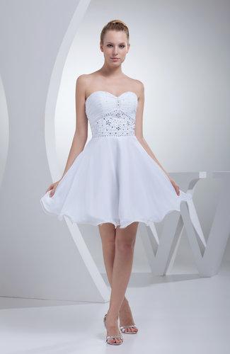 White Cute Sweetheart Sleeveless Zip up Chiffon Short Prom Dresses ...
