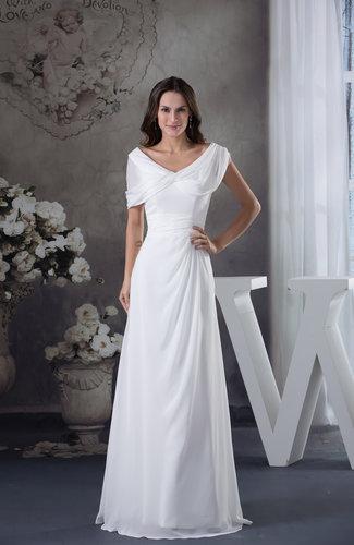 Elegant Destination Short Sleeve Zipper Chiffon Ruching Bridal Gowns