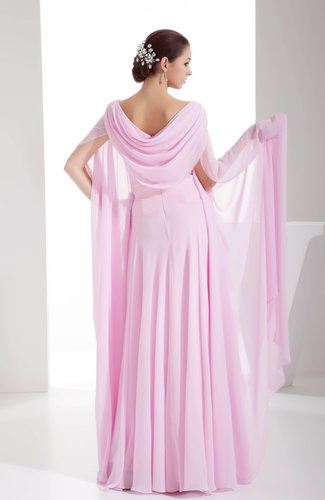 Baby Pink Romantic A Line Scoop Long Sleeve Chiffon