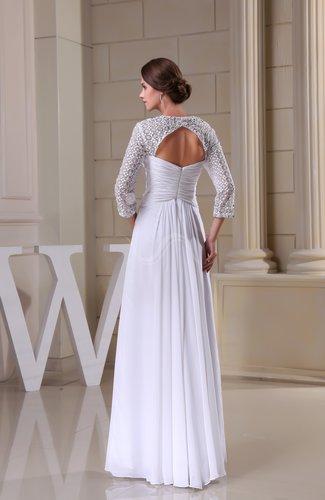 White disney princess destination a line queen anne 3 4 for Disney line wedding dresses