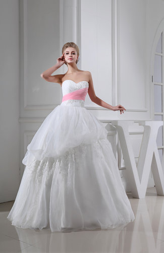 White Romantic Church Full Skirt Backless Organza Floor Length ...