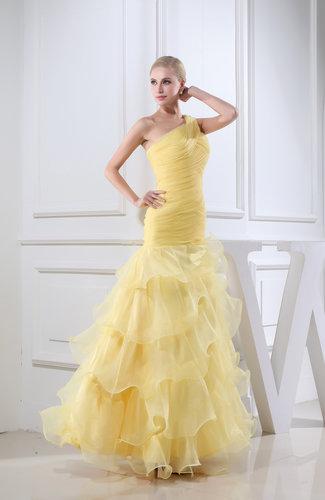 Yellow Romantic Church Sheath Backless Floor Length Ruching Bridal ...