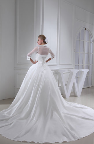 White Gorgeous Hall Strapless 3 4 Length Sleeve Cathedral