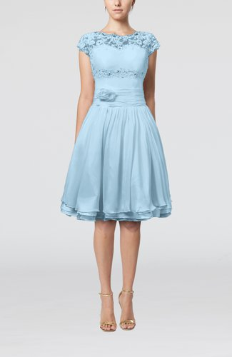 Cinderella A-line Scalloped Edge Short Sleeve Chiffon Knee Length Bridesmaid Dresses