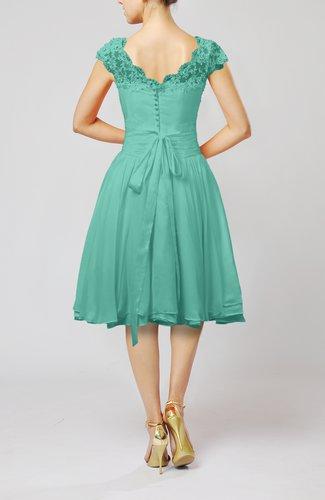 Mint Green Cinderella A-line Scalloped Edge Short Sleeve Chiffon ...