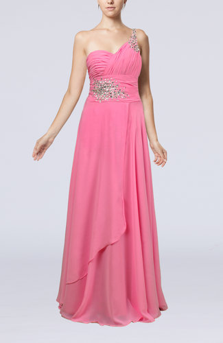 Pink Informal Wedding Dresses : Pink informal zipper chiffon floor length rhinestone