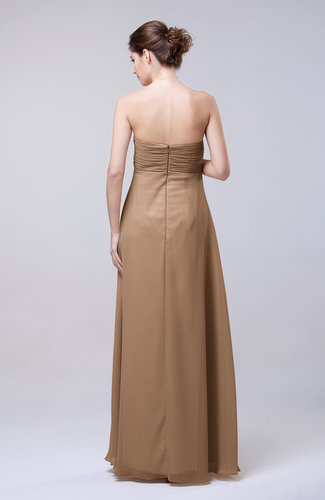 Light Brown Elegant Empire Chiffon Floor Length Appliques Prom ...