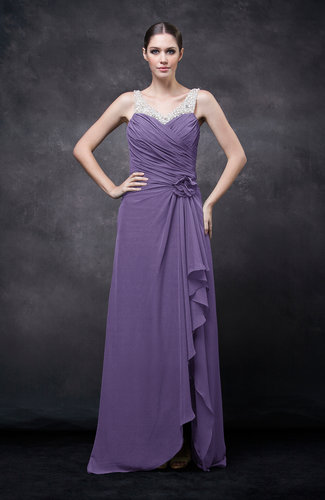 Lilac romantic illusion backless chiffon flower wedding for Backless wedding guest dresses