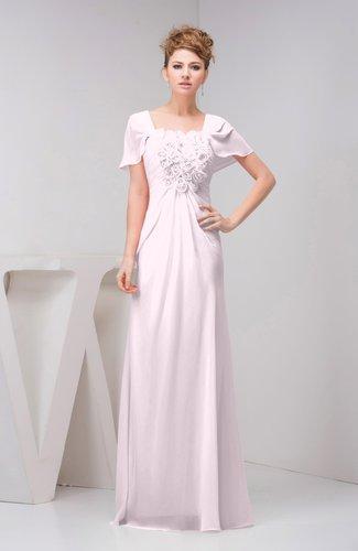 Blush With Sleeves Bridesmaid Dress Chiffon Fall Casual Natural Outdoor A Lin