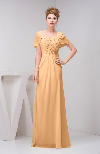 Salmon buff with sleeves bridesmaid dress chiffon fall for Fall casual wedding dresses