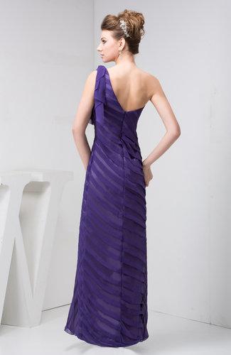 Dark Purple Chiffon Bridesmaid Dress One Shoulder Pretty Plain Semi