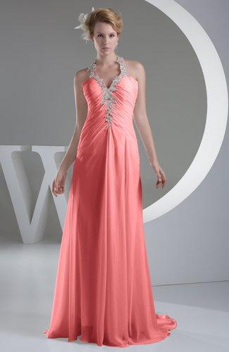 Shell Pink Chiffon Bridesmaid Dress Inexpensive Traditional Winter