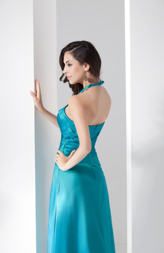 Peacock Inexpensive Bridesmaid Dress Country Apple Halter