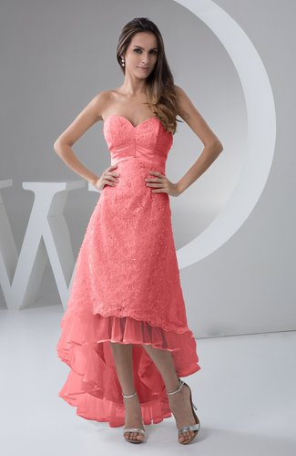 Inexpensive Chic Wedding Dresses : Tea length bridesmaid dress inexpensive sweetheart chic sparkly tiered