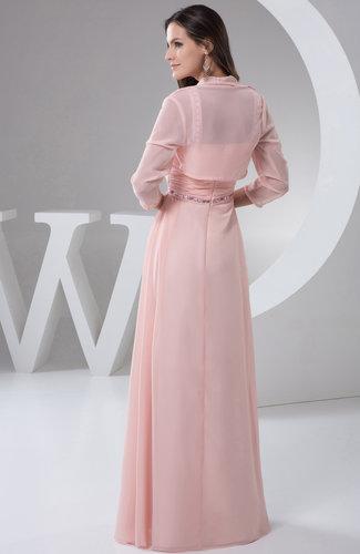 Light Pink Chiffon Bridesmaid Dress Long Plus Size Outdoor
