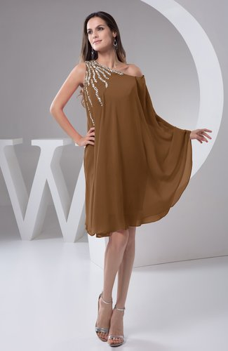 Brown Chiffon Bridesmaid Dress Maternity Outdoor Plus Size Autumn A