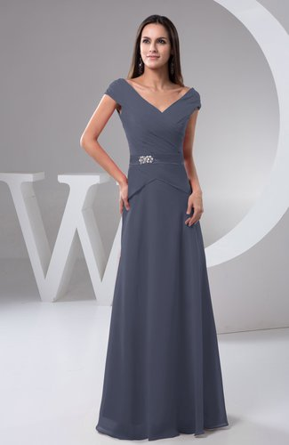 Chiffon Bridesmaid Dress with Sleeves Short Sleeve Outdoor Chic Autumn