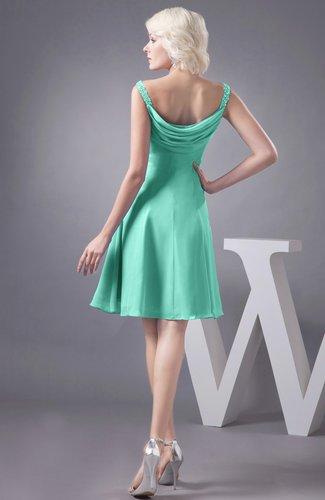 Mint Green Chiffon Bridesmaid Dress Short Winter Fall