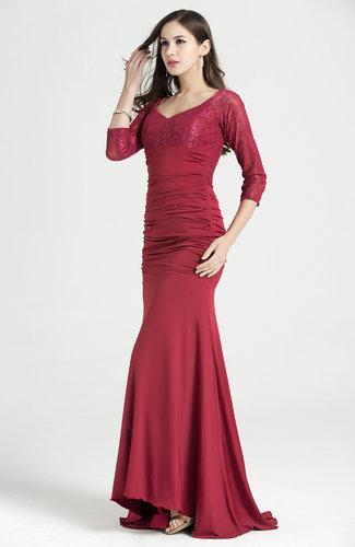 Elegant Sweetheart 34 Length Sleeve No Hi Lo Ruching Plus Size Prom
