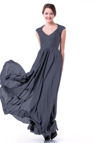 Classic A-line Zipper Chiffon Pleated Plus Size Prom Dresses