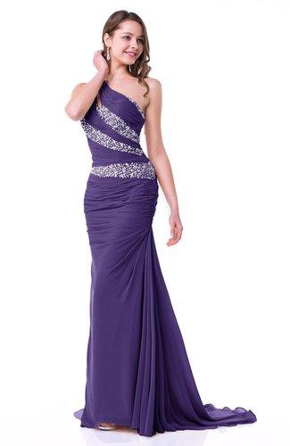 Dark Purple Modern One Shoulder Sleeveless Zipper Chiffon Ruching