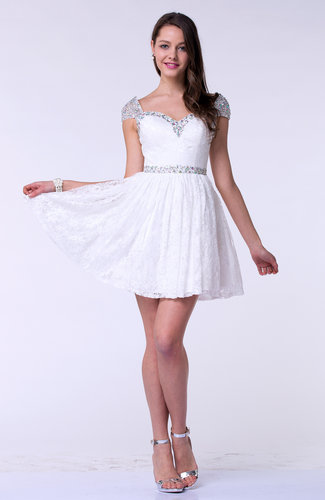 White Modern A Line Short Sleeve Satin Short Plus Size Prom Dresses