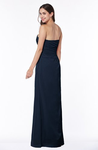 Navy Blue Modern A Line Sweetheart Chiffon Floor Length Plus Size